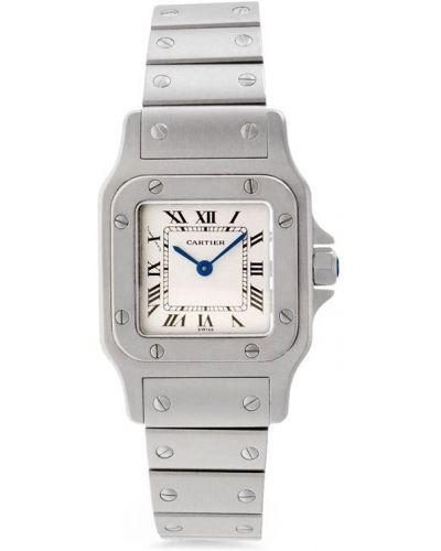 Серебряные кварцевые часы квадратные с кварцем Cartier