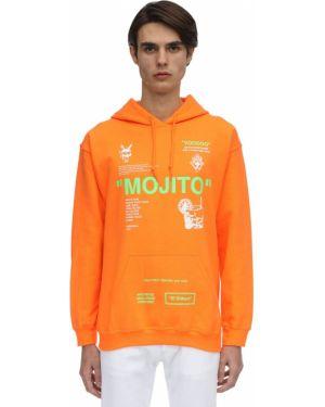 Pomarańczowa bluza z kapturem bawełniana Taboo