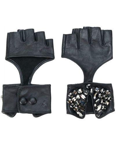 Кожаные перчатки без пальцев Karl Lagerfeld