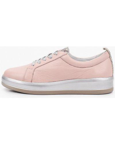 Розовые кожаные низкие кеды Enzo Logana