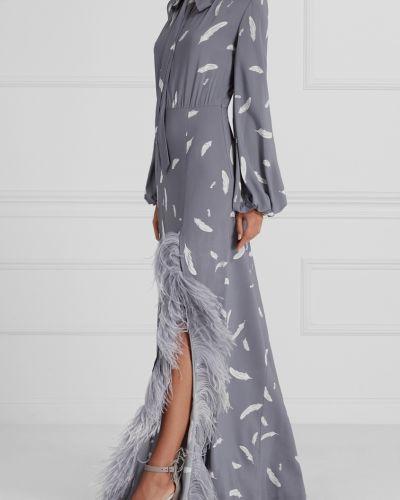 Платье макси шелковое с перьями A La Russe