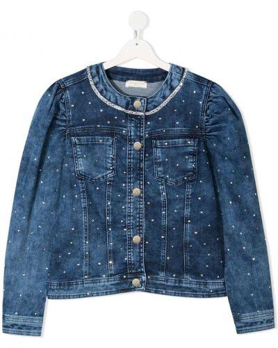 Ватная синяя джинсовая куртка с накладными карманами Monnalisa
