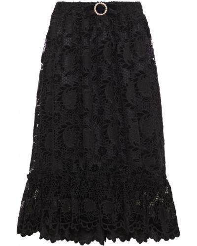 Ажурная гипюровая черная юбка миди Shrimps