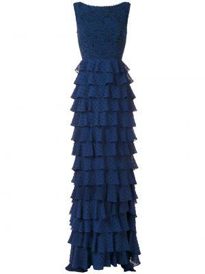 Синее платье макси без рукавов с круглым вырезом круглое Martha Medeiros