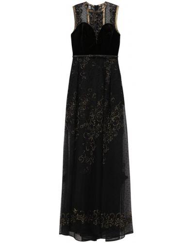 Платье макси с цветочным принтом с цветочной вышивкой Elie Saab