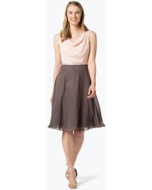 Beżowa sukienka koktajlowa elegancka asymetryczna Ambiance