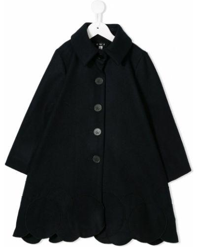 Расклешенное классическое кашемировое темно-синее длинное пальто Owa Yurika