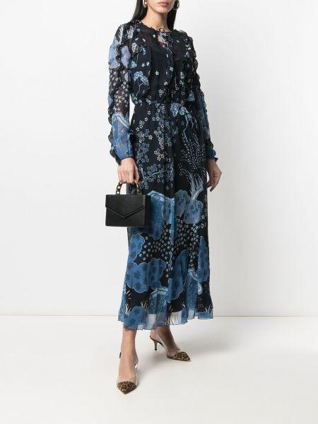 Платье макси с длинными рукавами - синее Red Valentino