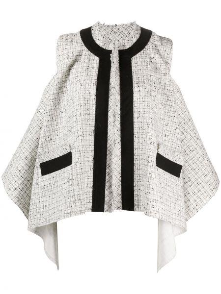 Белый пиджак твидовый без рукавов Sacai