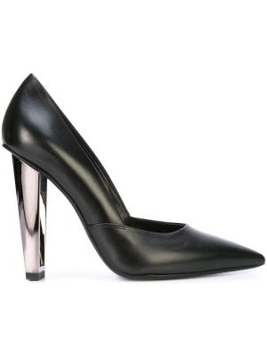 Кожаные черные туфли-лодочки без застежки на каблуке Poiret