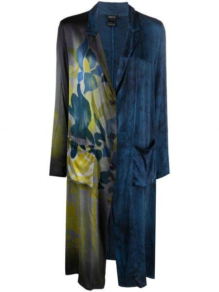 Шелковое синее длинное пальто с карманами Avant Toi