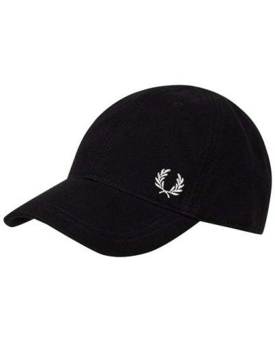 Bawełna bawełna czarny czapka z daszkiem prążkowany Fred Perry