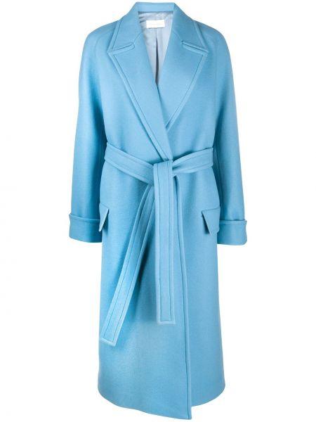 Синее шерстяное пальто классическое с запахом с поясом Christian Wijnants