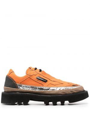 Pomarańczowe sneakersy sznurowane koronkowe Rombaut