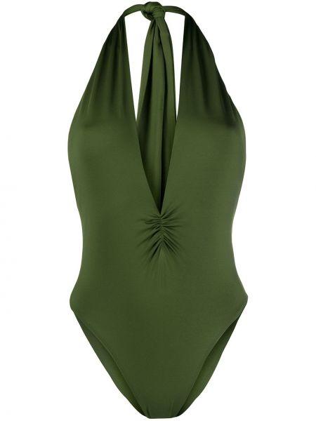 Зеленый плюшевый слитный купальник на бретелях с вырезом Tara Matthews