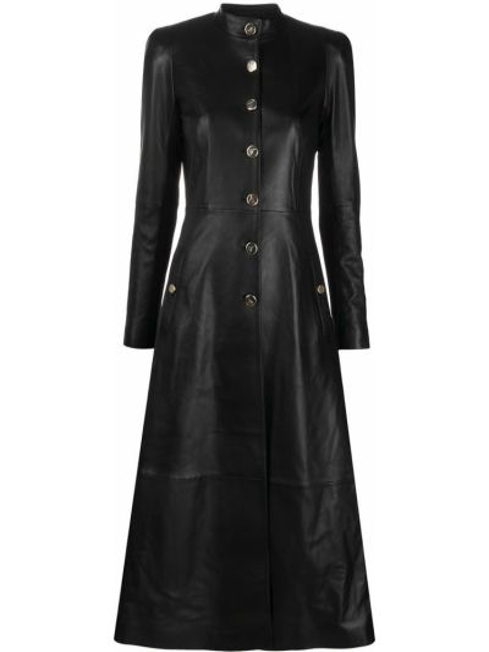 Кожаное черное длинное пальто с воротником на пуговицах Temperley London