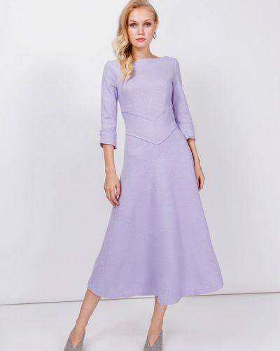 Платье миди осеннее фиолетовый мадам т