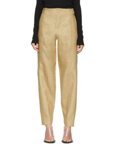 Брючные бежевые льняные брюки с поясом Vejas