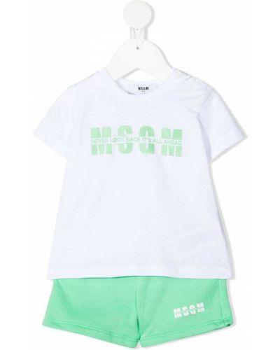 Zielony dres bawełniany krótki rękaw Msgm Kids