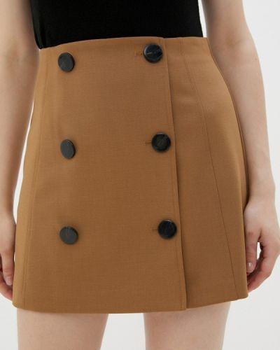 Коричневая юбка свободного кроя Sisley