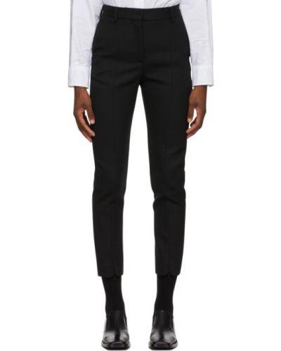 Wełniany czarny spodnie o prostym kroju z paskiem z mankietami Mm6 Maison Margiela
