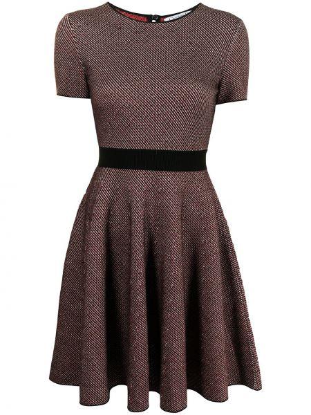 Brązowa sukienka mini rozkloszowana krótki rękaw Christian Dior