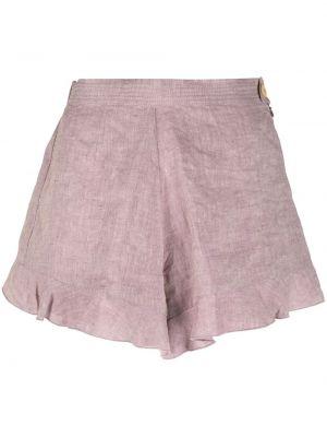 Расклешенные розовые льняные короткие шорты Forte Forte