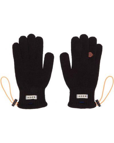 Czarny włókienniczy skórzany rękawiczki z mankietami Ader Error