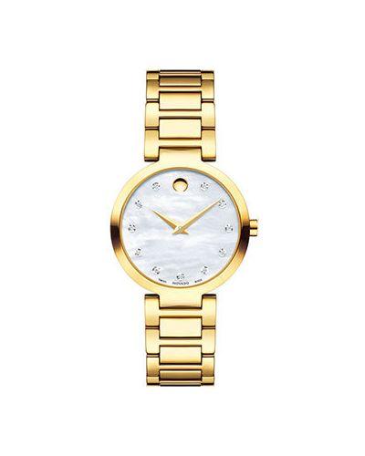 Кварцевые часы швейцарские с бриллиантом с круглым циферблатом Movado