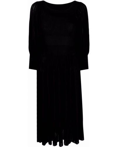 Prążkowana czarna sukienka mini z wiskozy Antonino Valenti