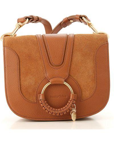 Z paskiem zamsz brązowy torba kosmetyczna Chloe