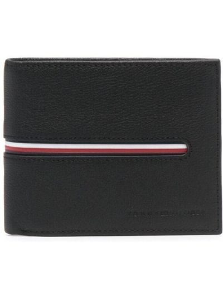 Черный кожаный кошелек с карманами Tommy Hilfiger
