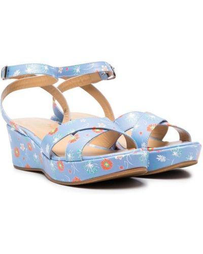 Sandały na koturnie skorzane na obcasie Gallucci Kids