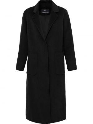 Черное пальто с воротником на пуговицах Unreal Fur