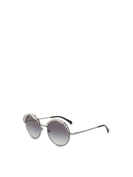 Силиконовые солнцезащитные очки круглые со вставками Chanel