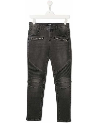 Прямые серые джинсы с карманами Balmain Kids