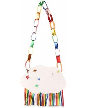 Biała torebka skórzana z frędzlami Stella Mccartney Kids