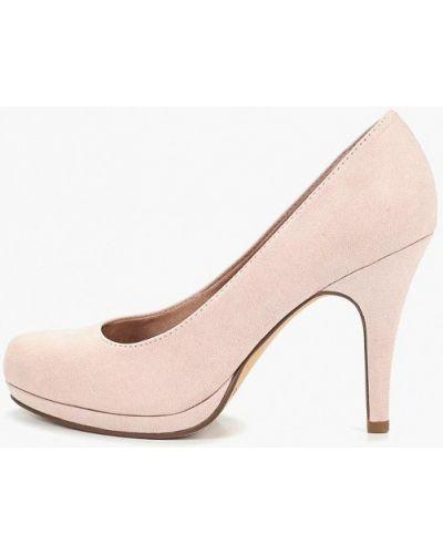 Туфли на каблуке закрытые велюровые Tamaris