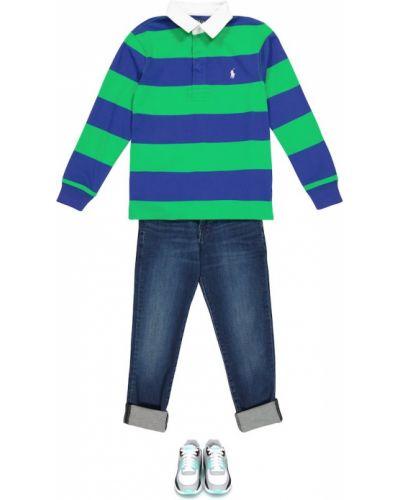 Zielona koszula bawełniana w paski Polo Ralph Lauren Kids