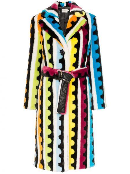 Płaszcz skórzany z paskiem z długimi rękawami Mary Katrantzou