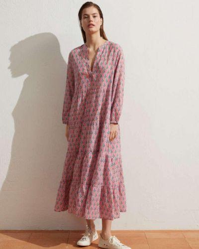 Прямое розовое платье А-силуэта Oysho
