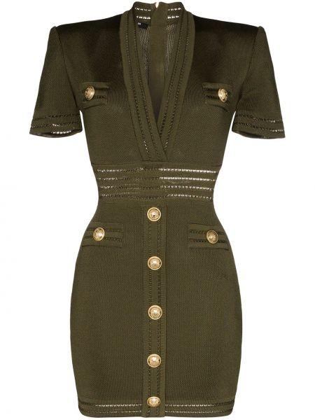Платье мини на пуговицах с V-образным вырезом Balmain
