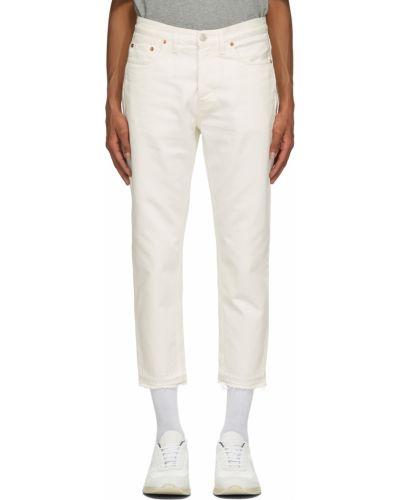 Białe jeansy z paskiem srebrne Harmony