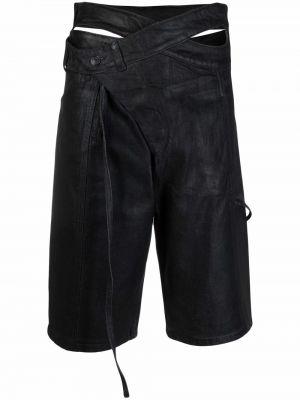 Хлопковые черные шорты на пуговицах Ottolinger
