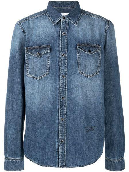 Niebieski koszula jeansowa z kieszeniami z haftem z kołnierzem Givenchy