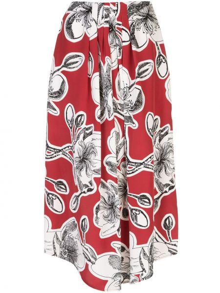 Красная шелковая юбка со складками Stine Goya
