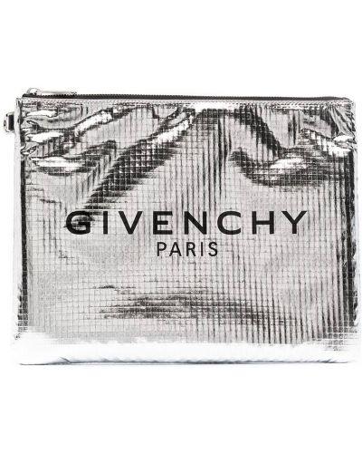 Серебряный клатч на молнии с карманами Givenchy