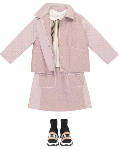 Różowa spódnica pikowana Burberry Kids