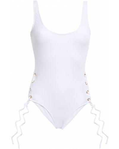 Кружевной белый купальник на шнуровке Melissa Odabash