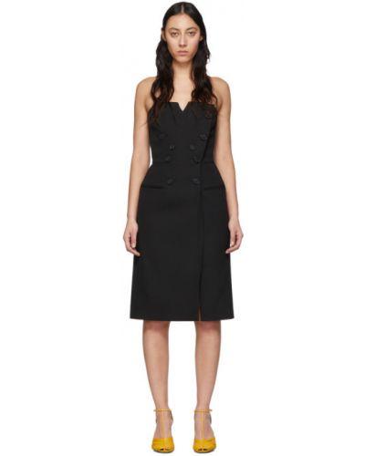 Wełniany czarny sukienka z dekoltem z kieszeniami Givenchy